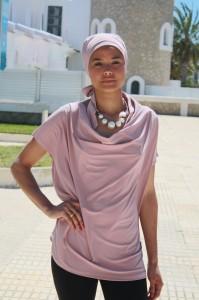 Turbante y camisola drapeada Opalo Rosa